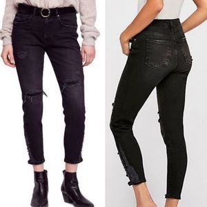 Free People Black Distressed About A Girl Jeans